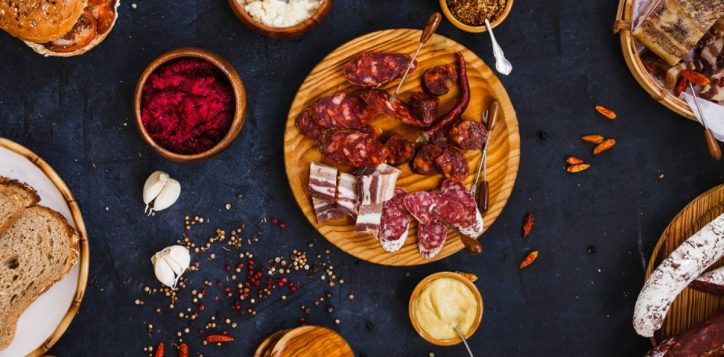stock-photo-typical-spanish-tapas-with-pancetta-salami-chorizo-lomo-with-mustard-beetroot-and-horseradish-444730093