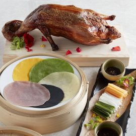 Golden Roasted Duck with <br>Rose & Fermented Bean Sauce <br>and Rainbow Pancakes