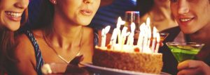 Birthday celebration with a cake and candles