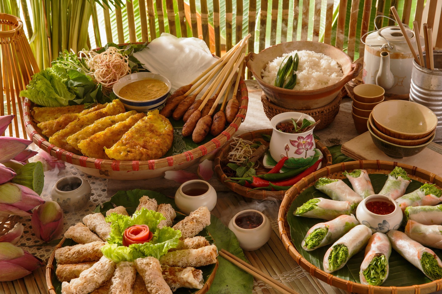 vietnamese-traditional-food-photo-special-event-bubbles-beats-brunch-pullman-danang-beach-resort-banh-xeo-pancake-lotus-rice-tea-nem-lui-tea-element-