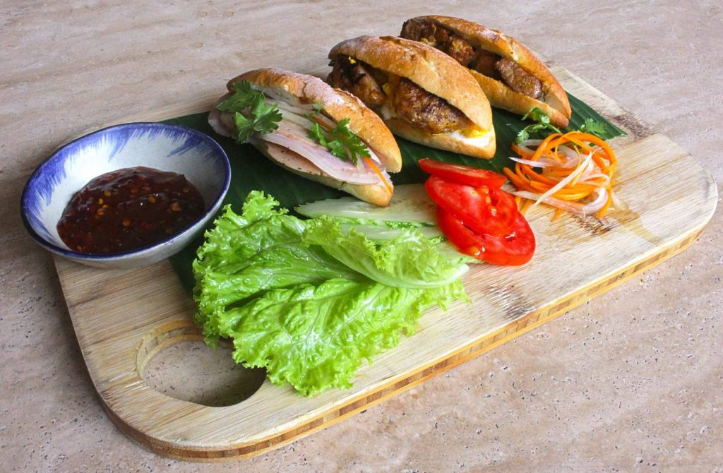 banh my, charcuterie meats, pork mince, omelet, snack