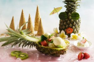 tropical fruit, ice cream, watermelon, midori, honeydew, pineapple, jelly