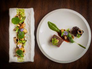 Kampo Wagyu Beef - Duo of Kampo rib eye and braised beef cheek chervil hazenut pesto and forestiere garnish - L'Appart Restaurant