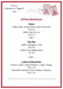 Mussel Menu with Pairing at L'Appart