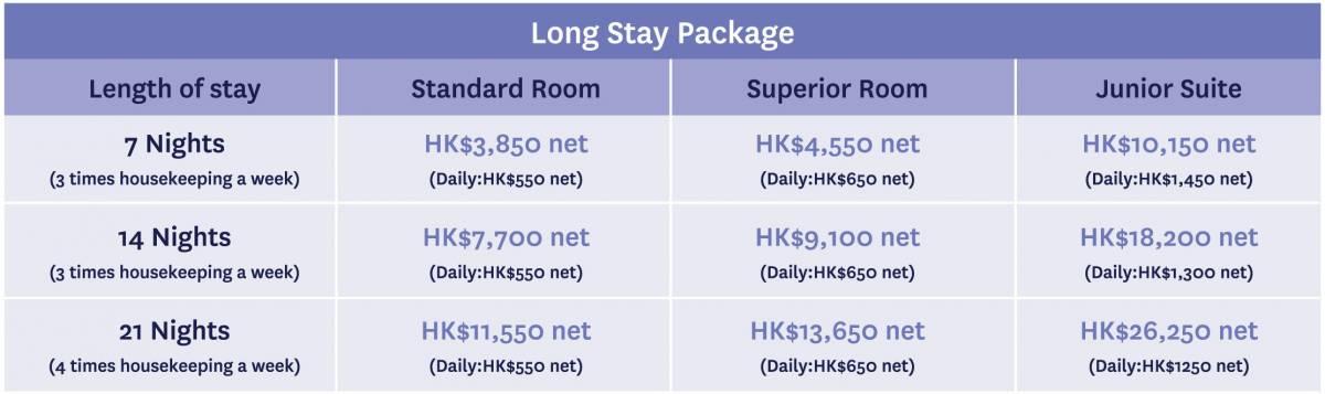 Flexible Long Staying Rate Chart Novotel Century Hong Kong