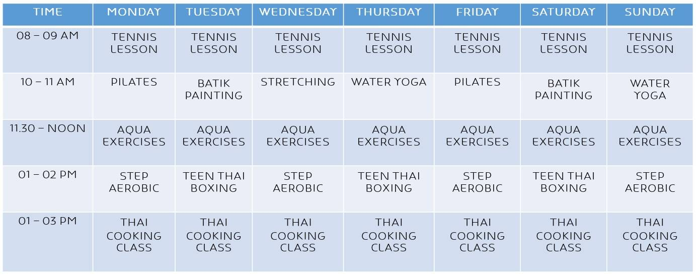 Novotel Phuket Resort Activities Schedule