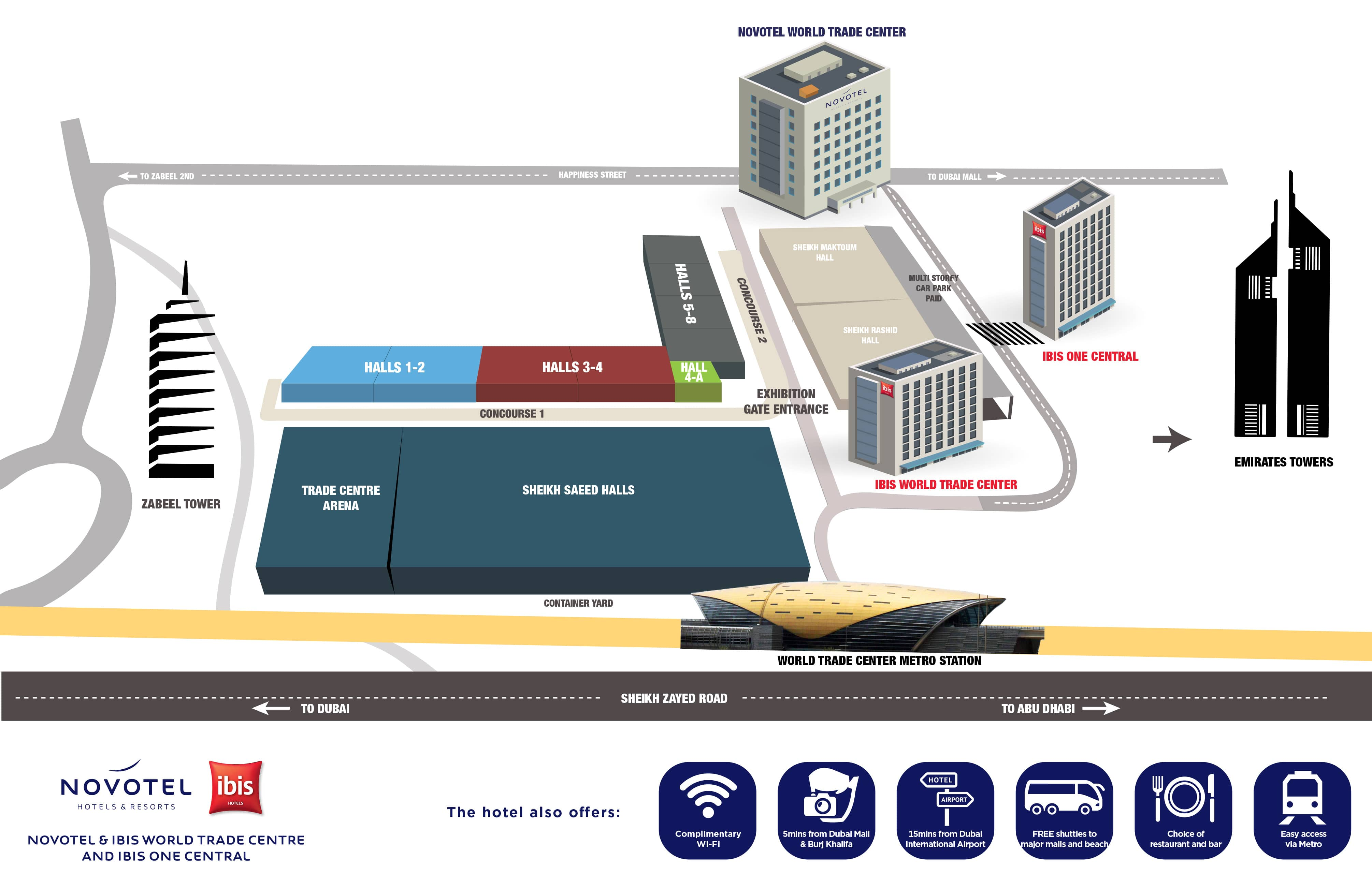 Novotel World Trade Centre Dubai - Directions & Maps on