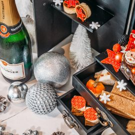 festive high tea with champagne close up
