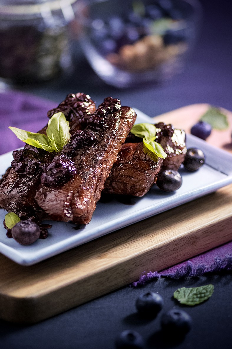 Nuts & Blueberry Weekend Afternoon Tea Buffet - Roasted Pork Ribs with Blueberry Balsamic Sauce