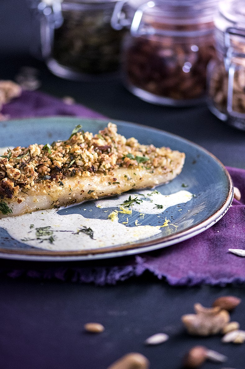 Nuts & Blueberry Weekend Afternoon Tea Buffet - Almond-Crusted Halibut with Sweet Basil & Coconut Sauce