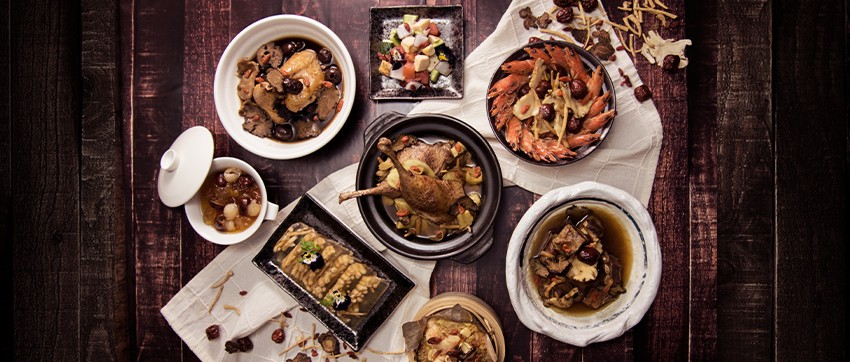 Essence of Winter buffet dishes showcase