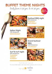 Join our themed Seafood BBQ, Italian Nights or Surf & Turf Nights at The Square Restaurant