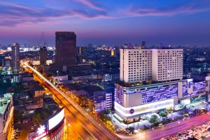 Grand Mercure Bangkok Fortune at night located in the Central Business District