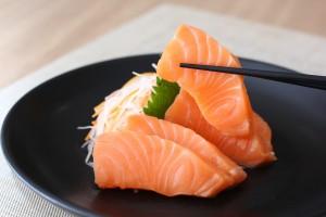 Fresh Salmon sashimi on a plate
