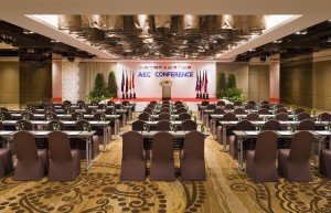 Large meeting room with chairs set up