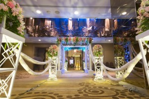 Wedding decoration with flower archways