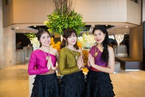 Thai welcome from three hostesses in the lobby