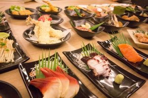 Japanese dishes on the table