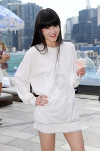 Special guest at launch of Chandon x Seafolly limited edition, at Sofitel Sydney Darling Harbour outdoor infinity pool