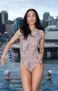 Model at launch of Chandon x Seafolly limited edition, at Sofitel Sydney Darling Harbour outdoor infinity pool