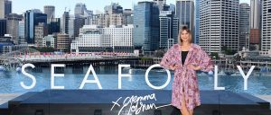 Australian artist Gemma O'Brien at the launch of the Chandon x Seafolly limited edition, at Sofitel Sydney Darling Harbour outdoor infinity pool
