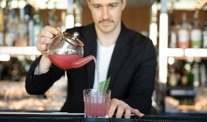 Glow from the inside out with the V and Tea cocktail by mixologist Kurtis Bosley, a delicate blend of hibiscus, rosehip, pomegranate and berries, rich in antioxidants for optimum health and vitality.