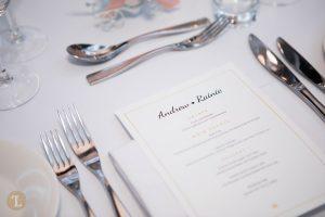 Wedding menu in the magnifique ballroom in Sofitel Sydney Darling Harbour