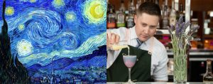 """Van Gogh-inspired """"Starry Night"""" cocktail at Champagne Bar, Sofitel Sydney Darling Harbour"""