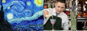 "Van Gogh-inspired ""Starry Night"" cocktail at Champagne Bar, Sofitel Sydney Darling Harbour"